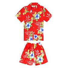 Hawaii Hangover Boy Hawaiian Rayon Cabana Floral Outfit Hibiscus Red/Blue/Black