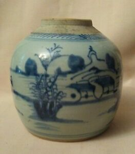 Antique Qing Dynasty Canton  Chinese Ginger Jar Underglaze Blue Pottery (No Lid)
