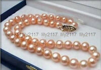 7-8MM Genuine Natural Pink Akoya Cultured Pearl Necklace 18""