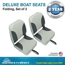 (2) Deluxe High Back Folding Marine Boat Seats- Grey - Charcoal Gray