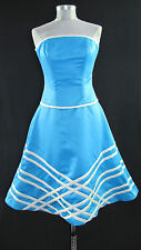 Dress - Women's Light Blue with White Stripes Sleeveless Party/Formal Size 6