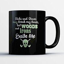 Golf Coffee Mug - Woods And Irons - Adorable 11 oz Black Ceramic Tea Cup - Cute