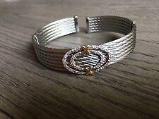 Authentic New Charriol Celtic 18K Gold Diamond & 6 Row Cable Bangle Bracelet