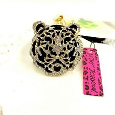 Betsey Johnson gold plating Crystal tiger sweater chain long necklace GG92