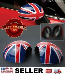 Red Blue Union Jack Side View Manual Mirror Cover Caps For MINI Cooper R55-R61