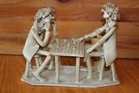 Chess Players hand sculpted Ceramic Signed Dino Bencini Vintage Italy sculpture