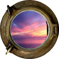 Huge 3D Porthole Purple Night Sky View Wall Stickers Mural Decal Wallpaper 100