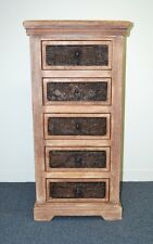 Distressed Country Timber Rustic Chic Tallboy Drawers Dresser Storage Cabinet