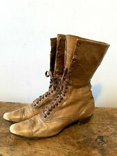 Antique Victorian Boots 1900s Brown High Lace Up Soft Leather Womens Size 6-6.5