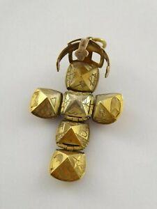VINTAGE 9ct GOLD SILVER MASONIC ORB CROSS PENDANT FOB CHARM 12 g