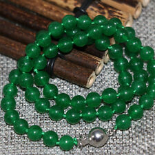 """Natural stone green jade chalcedony 8mm round beads choker necklace 18"""""""