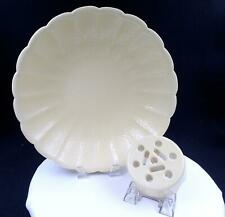 """ROOKWOOD POTTERY #2813 SCALLOPED 13"""" CREAM CENTERPIECE BOWL & FLOWER FROG 1931"""