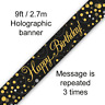 Happy Birthday Party Sparkling Black & Gold Foil Bunting Banner Decoration