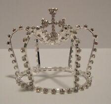 Tiara Cross Rhinestone Cluster Silver Mini Crown Bun Pageant Prom Wedding NWT L2