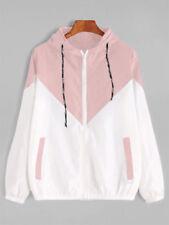 Lady Women Jacket Coat Tops Hooded Two Tone Windbreaker Zipper Long Sleeve