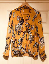 Mustard Floral Print Blouse, Size 10