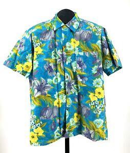 40s 50s vtg Hawaiian Shirt Lauhala made in Hawaii floral RARE print COLORS 1950s