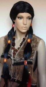 Extra Long Straight Black Fancy Dress Wig With Six Woven Hair Ties.