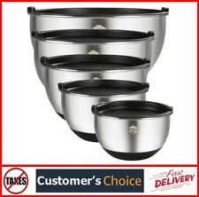 Mixing Bowls Set of 5, Stainless Steel Nesting Mixing Bowls with Lids Stackable