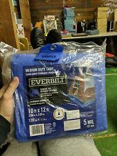 Everbilt Canopy Tarp Roofing Cover Shade Sun Protection 10x12 Blue Medium Duty