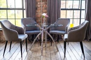 Cecelia Luxury Glass Dining Table Set + 4 Beautiful Grey Scoop Chairs Round