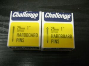 """CHALLENGE COPPERED HARDBOARD PINS X 2 BOXES 25MM 1"""""""