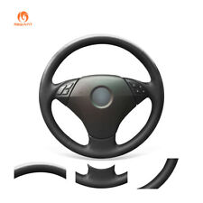 Black Artificial Leather Steering Wheel Cover for BMW 5 Series E60 E61 2004-2010