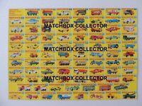 Matchbox Lesney Poster repro Type F  Series models 1-75
