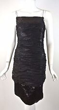 Mandaley Black Sequined Cocktail DRESS Formal straight fitted simple  10 / M