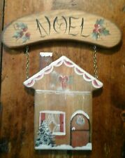 Vintage CHRISTMAS TOLE Wooden Wall Plaque COZY HOUSEHanging from NOELGreeting