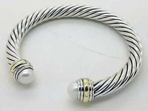 David Yurman 7mm Pearls & 14K Gold Bracelet