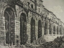 TIVOLI HERKULES TEMPEL GROßE RADIERUNG LUIGI ROSSINI 1824 ITALIEN ITALIA H64