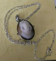 """Unique Vintage Sterling Silver Carved Cameo Locket Necklace 18"""" Chain"""