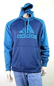 Mens Adidas Climawarm Activewear Hoodie Blue Teal Size L Sports Top EUC As New