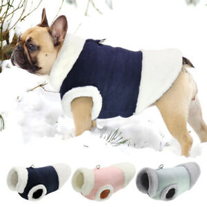 French Bulldog Clothes Winter Warm Fleece Puppy Pet Dog Coat Jacket w/ Lead Ring