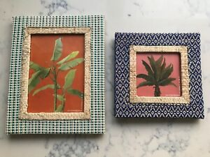 2 X Oliver Bonas HAND MADE rafia style woven picture frames choice of 7x5 or 4x4