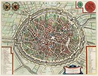 MAP ANTIQUE VAN LOON 1649 BRUGES CITY PLAN OLD LARGE REPRO POSTER PRINT PAM1272