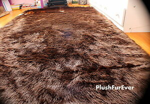Brown Faux Fur Area Rectangle Accent Lodge Cabin Sheepskin Rugs 5' x 7' Decor
