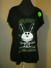new Jim Benson Happy Bunny crazy on the inside t-shirt sm 3/5 glow in dark