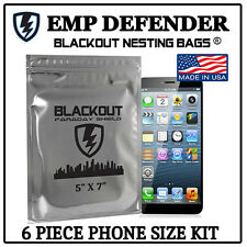"""FARADAY CAGE EMP ESD BAGS 6 PC PHONE SIZE 5"""" X 7"""" PREPPER KIT BY EMP DEFENDER"""