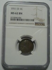 = 1911-D NGC MS62 BN Lincoln WHEAT Cent, Super EYE Appeal, FREE Shipping