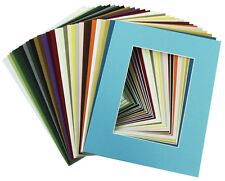 Set of 20 MIXED COLORS 8x10 Picture Mats with White Core for 5x7 Pictures