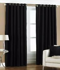 New Polyester 2 Piece Door Curtain Set - Black, 4 x 7 ft