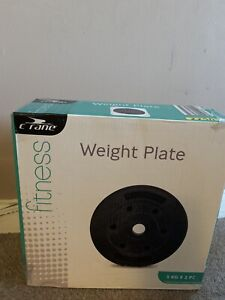 Crane Weight Plates Gym For Barbell Vinyl PE Cover New 5kg X2 10kg Total
