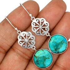Artisan - Blue Mohave Turquoise, Arizona 925 Silver Earring Jewelry AE135187