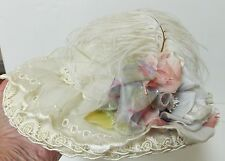 VINTAGE VICTORIAN STYLE HAT FEATHERS FLOWERS BEADS ROSES RIBBONS AND BEADS