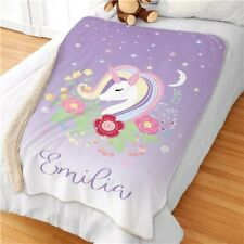 Personalized Name Unicorn Sherpa Blanket Big Size