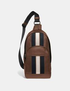 NWT COACH men's BREAST BAG Houston Pack With Varsity Stripe