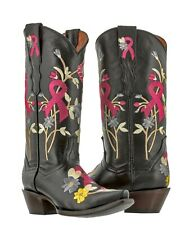 Womens Black Breast Cancer Awareness Ribbon Embroidered Cowgirl Boots Snip Toe