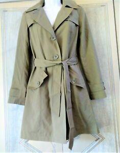 M & S Mack Style Trench Thyme/Green Coat Size UK 8 EU 36